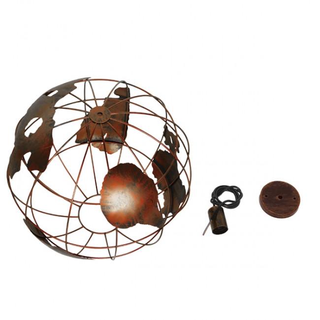 Vintage Industrial Κρεμαστό Φωτιστικό Οροφής Μονόφωτο Καφέ Σκουριά Μεταλλικό Πλέγμα Φ40  EARTH RUST 40CM 01665 - 7