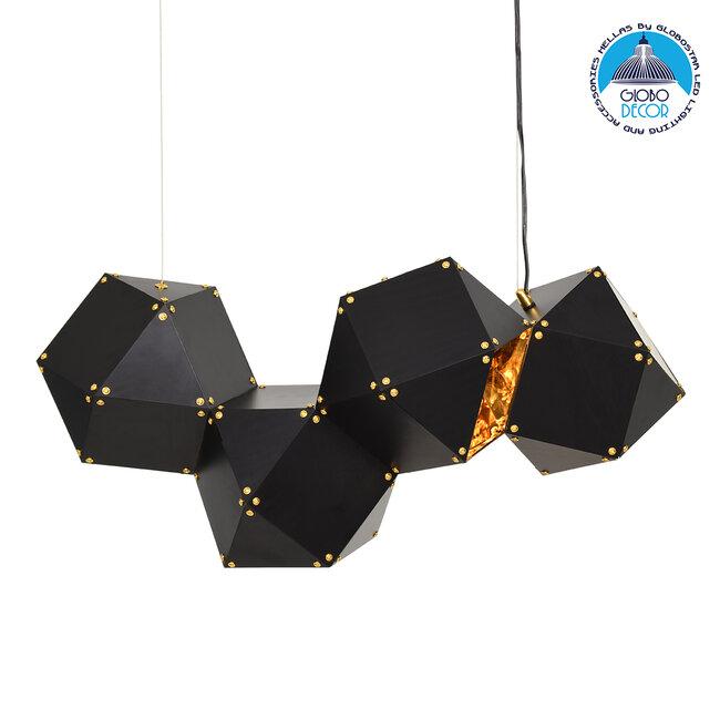 WELLES Replica 00796 Μοντέρνο Κρεμαστό Φωτιστικό Οροφής Πολύφωτο Μεταλλικό Μαύρο Χρυσό Μ68 x Π32 x Υ30cm - 1