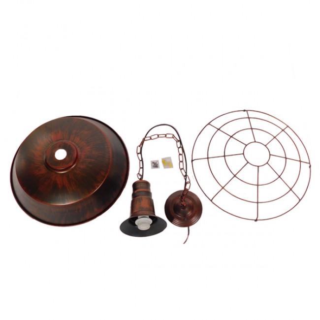 Vintage Industrial Κρεμαστό Φωτιστικό Οροφής Μονόφωτο Καφέ Σκουριά Μεταλλικό Καμπάνα Φ46 GloboStar BARN IRON RUST 01045 - 8