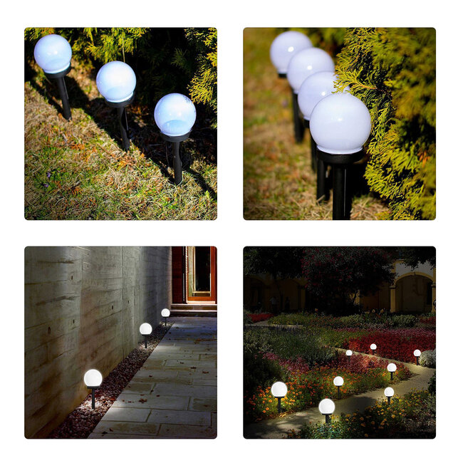 GloboStar® 71472 Αυτόνομο Ηλιακό Φωτιστικό LED SMD 1W 100lm με Ενσωματωμένη Μπαταρία 300mAh - Φωτοβολταϊκό Πάνελ με Αισθητήρα Ημέρας-Νύχτας Αδιάβροχο IP65 Φανάρι Κήπου Στρογγυλό Ψυχρό Λευκό 6000K - 6