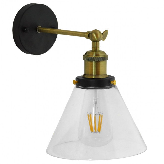 Vintage Φωτιστικό Τοίχου Απλίκα Μονόφωτο Χρυσό Μεταλλικό με Γυάλινη Καμπάνα Φ18 Globostar CATHERINE 01074 - 6