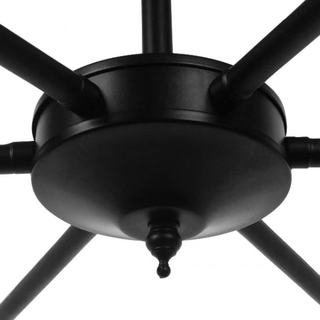 Vintage Industrial Κρεμαστό Φωτιστικό Οροφής Πολύφωτο Μαύρο Μεταλλικό Πολυέλαιος με Καπέλο Φ100 GloboStar LIMI 01092 - 9
