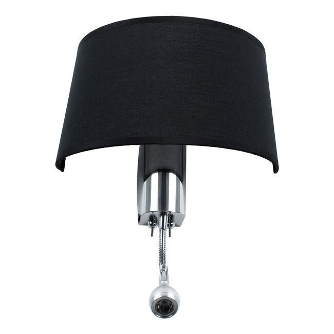 ELEGANT 01492 Μοντέρνο Φωτιστικό Τοίχου Απλίκα Δίφωτο Μεταλλικό με Μαύρο Ύφασμα και Βραχίονα με LED Μ26.5 x Π15 x Υ43cm - 6