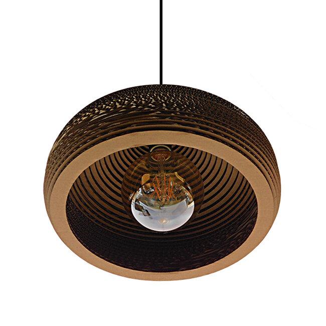 Vintage Κρεμαστό Φωτιστικό Οροφής Μονόφωτο 3D από Επεξεργασμένο Σκληρό Καφέ Χαρτόνι Καμπάνα Φ35  MILOS 01291 - 4