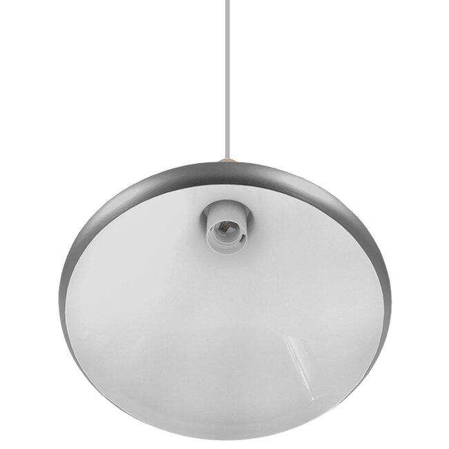 Μοντέρνο Κρεμαστό Φωτιστικό Οροφής Μονόφωτο Ασημί Μεταλλικό Καμπάνα Φ27  PIROZZI 01277 - 5