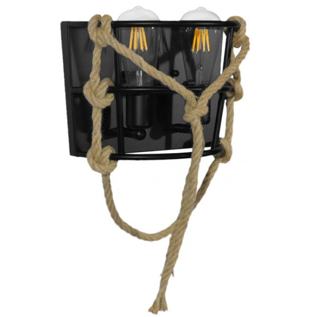 Vintage Industrial Φωτιστικό Τοίχου Απλίκα Δίφωτο Μαύρο Μεταλλικό Πλέγμα με Μπεζ Σχοινί GloboStar BARBOSA 01083 - 4
