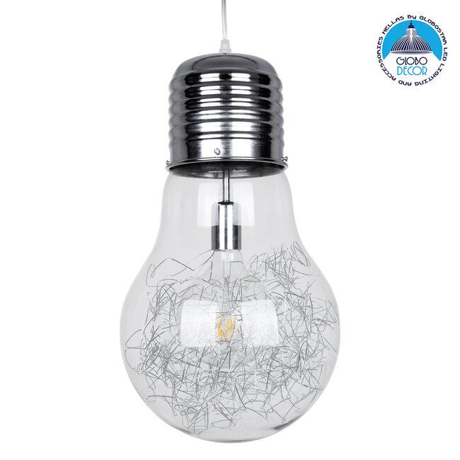 LAMP 01677 Μοντέρνο Κρεμαστό Φωτιστικό Οροφής Μονόφωτο Ασημί Νίκελ Μεταλλικό Διάφανο Γυαλί Φ30 x Υ52cm - 1