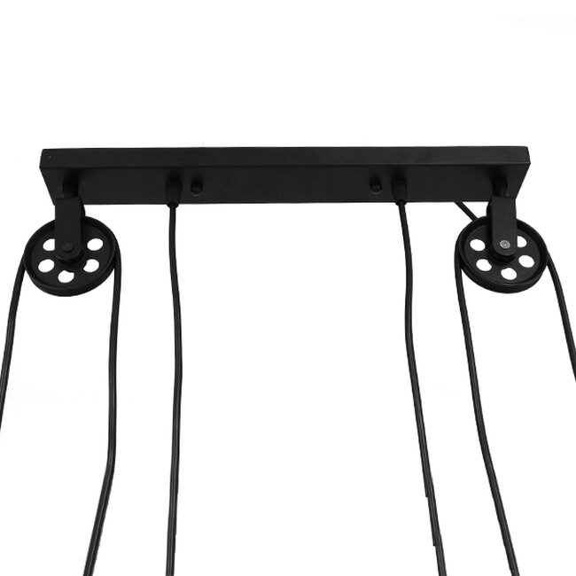 Vintage Industrial Κρεμαστό Φωτιστικό Οροφής Δίφωτο Μαύρο Μεταλλικό με Ρυθμιζόμενη Ανάρτηση  SCALES 01550 - 8