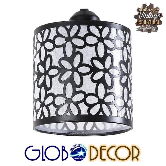 Μοντέρνο Κρεμαστό Φωτιστικό Οροφής Τρίφωτο Μαύρο Μεταλλικό Πλέγμα με Λευκό Γυαλί Φ40 GloboStar RAINELDA 01246 - 3