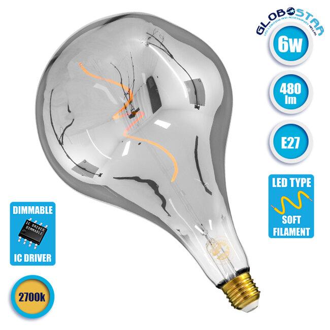 Λάμπα E27 R170 Rock LED SOFT SPIRAL FILAMENT 6W 480 lm 320° AC 85-265V Edison Retro με Φιμέ Γυαλί Θερμό Λευκό 2700 K Dimmable GloboStar 99176