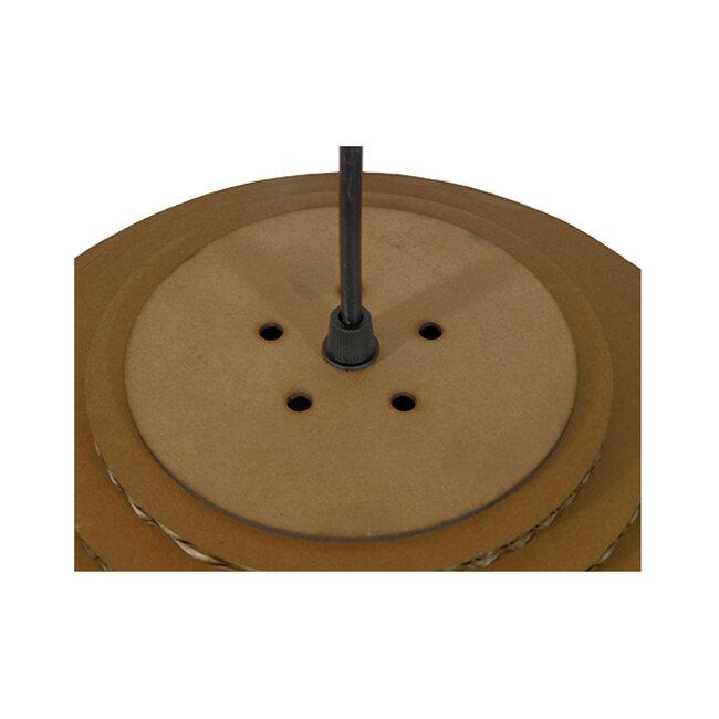 Vintage Κρεμαστό Φωτιστικό Οροφής Μονόφωτο 3D από Επεξεργασμένο Σκληρό Καφέ Χαρτόνι Καμπάνα Φ35  SKIATHOS 01296 - 7
