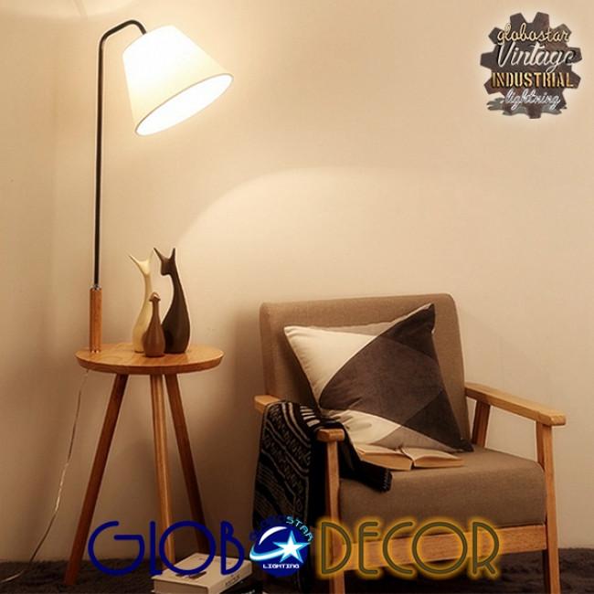 Μοντέρνο Φωτιστικό Δαπέδου Μονόφωτο Ξύλινο με Μπεζ Καπέλο και Μαύρο Μεταλλικό Βραχίονα Φ28 GloboStar TIFFANY 01206 - 6