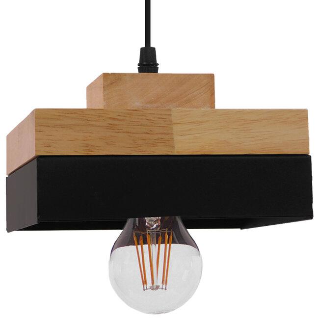 Μοντέρνο Κρεμαστό Φωτιστικό Οροφής Μονόφωτο Μαύρο Μεταλλικό με Φυσικό Ξύλο Καμπάνα Φ18 GloboStar LAOTH 01234 - 3
