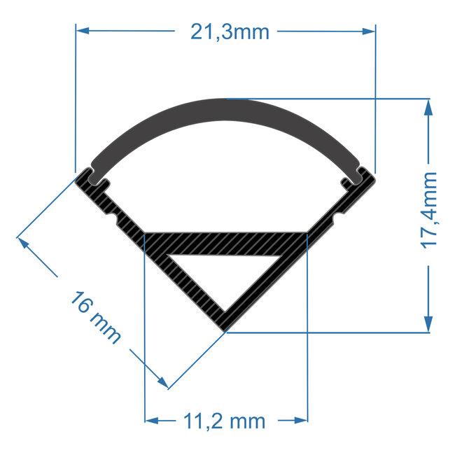 GloboStar® 70816-3M Γωνιακό Προφίλ Αλουμινίου Μαύρο με Μαύρο Οπάλ Κάλυμμα για 1 Σειρά Ταινίας LED Πατητό - Press On Πακέτο 5 Τεμάχια των 3 Μέτρων - 5