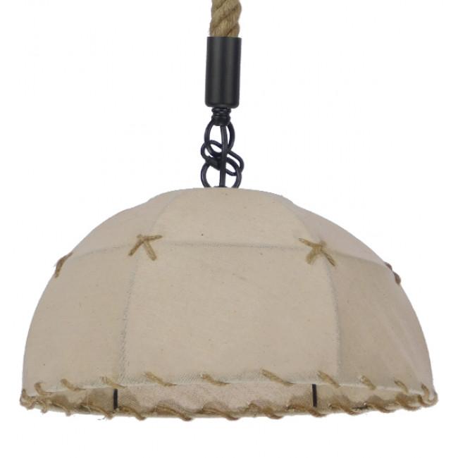Vintage Κρεμαστό Φωτιστικό Οροφής Μονόφωτο με Μπεζ Σχοινί και Καπέλο Φ35  ANTOINETTE 01028 - 1