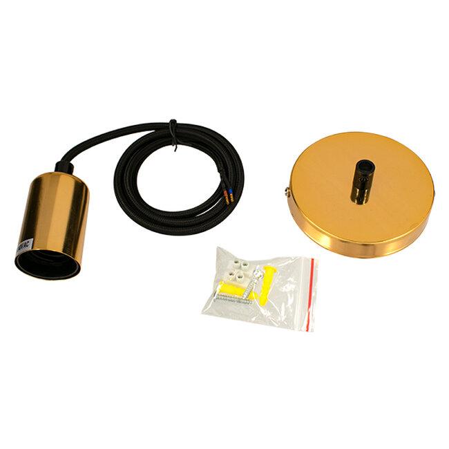 LUMI GOLD 99421 Μοντέρνο Μεταλλικό Κρεμαστό Φωτιστικό Οροφής Ανάρτηση με Ντουί E27 Μονόφωτο Χρυσό Φ4 x Y118cm - 2