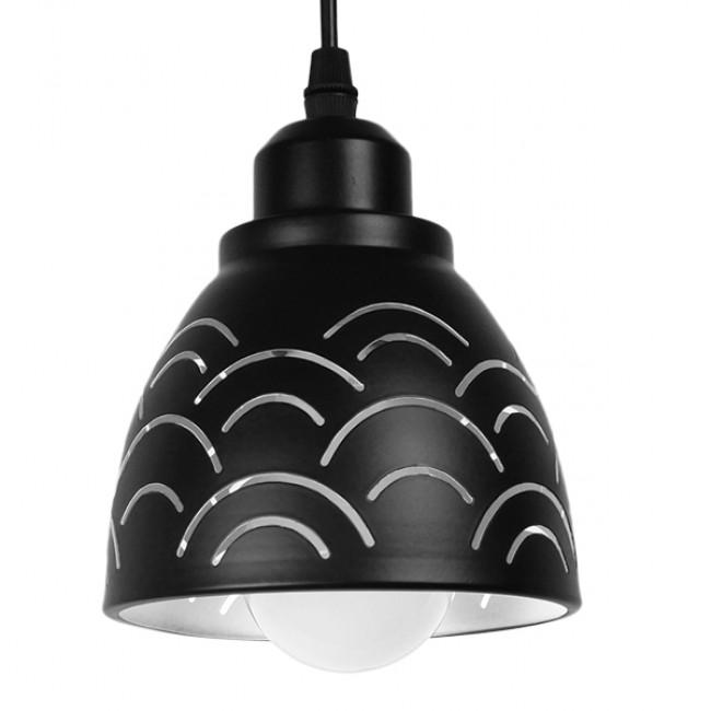 Μοντέρνο Κρεμαστό Φωτιστικό Οροφής Μονόφωτο Μεταλλικό Μαύρο Λευκό Καμπάνα Φ13 GloboStar CLOUD 01482 - 1