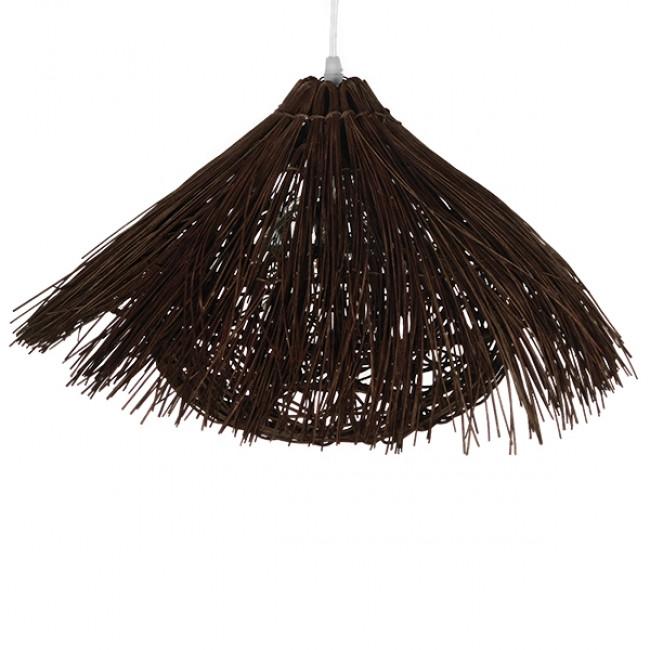 Vintage Κρεμαστό Φωτιστικό Οροφής Μονόφωτο Καφέ Σκούρο Ξύλινο Ψάθινο Rattan Φ50 GloboStar MAGIE 01600 - 4