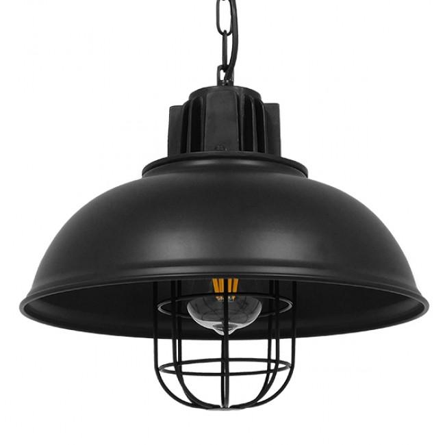 Vintage Industrial Κρεμαστό Φωτιστικό Οροφής Μονόφωτο Μαύρο Μεταλλικό Πλέγμα Φ33 GloboStar HARROW BLACK 01571