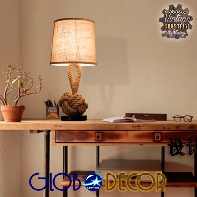Vintage Επιτραπέζιο Φωτιστικό Πορτατίφ Μονόφωτο με Μπεζ Σχοινί και Καπέλο Φ29  MONKEY FIST 01162 - 14