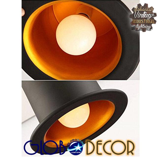 Vintage Κρεμαστό Φωτιστικό Οροφής Μονόφωτο Μαύρο Μεταλλικό Καμπάνα Φ26 GloboStar SHERLOCK 01215 - 18