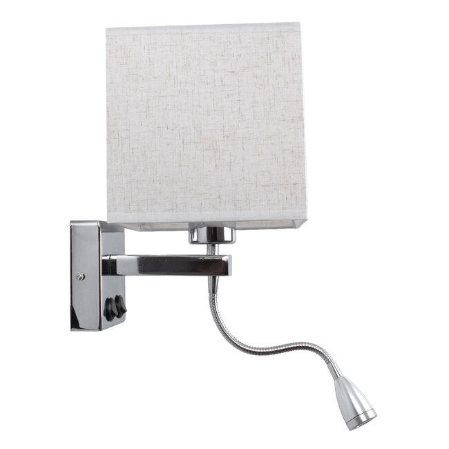ELEGANT 01495 Μοντέρνο Φωτιστικό Τοίχου Απλίκα Μεταλλικό Χρώμιο Νίκελ με Λευκό Ύφασμα Δίφωτο 1xE27 - Ρυθμίζόμενο Σώμα Σπιράλ με CREE LED 3W Θερμό Λευκό 2700K - Διακόπτες On / Off Μ17 x Π21 x Υ43cm - 4