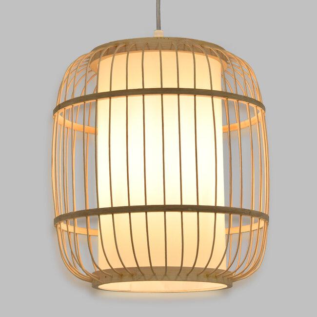 GloboStar® DE PARIS 01633 Vintage Κρεμαστό Φωτιστικό Οροφής Μονόφωτο Μπεζ Ξύλινο Bamboo Φ26 x Y32cm - 2