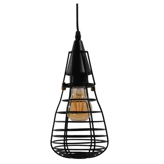 Vintage Industrial Κρεμαστό Φωτιστικό Οροφής Μονόφωτο Μαύρο Μεταλλικό Πλέγμα Φ13 GloboStar ALDO 01058 - 3