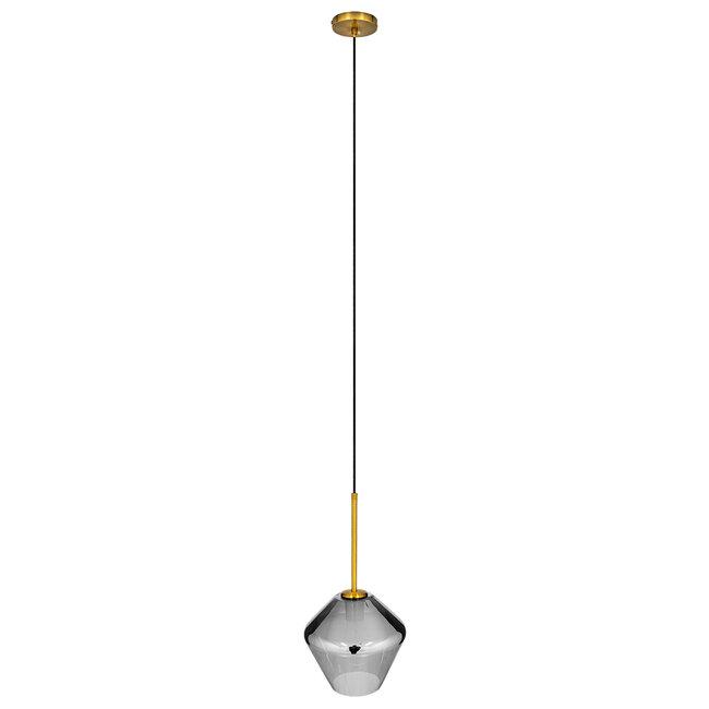 GloboStar® AMARIS 00872 Μοντέρνο Κρεμαστό Φωτιστικό Οροφής Μονόφωτο Γυάλινο Φιμέ Νίκελ Φ22 x 22CM - 3