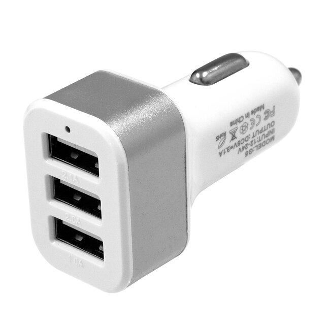 Globostar® 79501 Ασημί Φορτιστής Αυτοκινήτου DC 12-24V με 3 Εξόδους USB DC 5V Max 3.1A 20W και Καλώδιο USB σε Type-C - 2