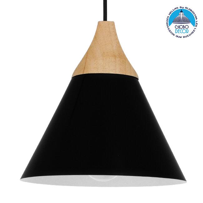 Μοντέρνο Κρεμαστό Φωτιστικό Οροφής Μονόφωτο Μαύρο Μεταλλικό με Ξύλο Καμπάνα Φ23  SHADE BLACK 00906 - 1