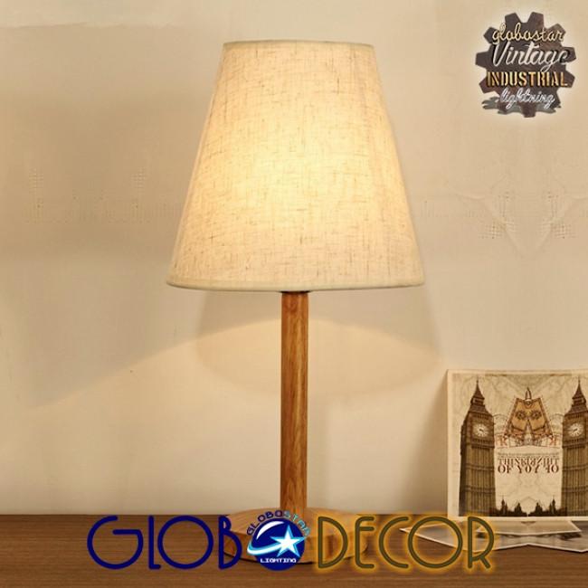 Μοντέρνο Επιτραπέζιο Φωτιστικό Πορτατίφ Μονόφωτο Ξύλινο με Λευκό Καπέλο Φ21 GloboStar NAPHIE 01208 - 11