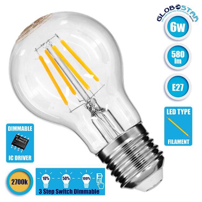 Λάμπα E27 A60 Γλόμπος LED On/Off Switch Dimmable FILAMENT 6W 580 lm 320° AC 85-265V με Διάφανο Γυαλί 3 Step Switch Dimmable Θερμό Λευκό 2700k GloboStar 99243