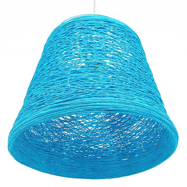 Vintage Κρεμαστό Φωτιστικό Οροφής Μονόφωτο Θαλασσί Ξύλινο Ψάθινο Rattan Φ32  ARGENT SEA BLUE 00995 - 5