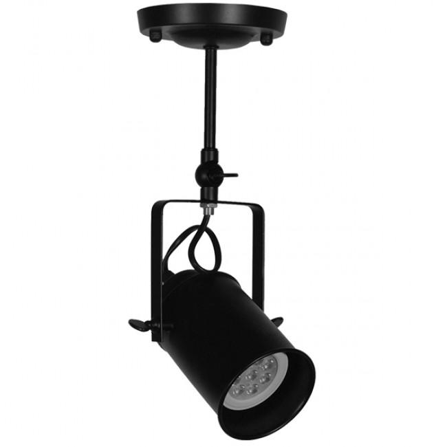 Vintage Φωτιστικό Οροφής Μονόφωτο Μαύρο Μεταλλικό Ράγα Φ10 GloboStar HOLLYWOOD 01153