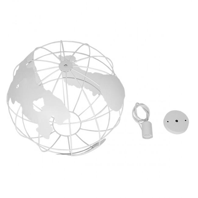Vintage Industrial Κρεμαστό Φωτιστικό Οροφής Μονόφωτο Λευκό Μεταλλικό Πλέγμα Φ40 GloboStar EARTH WHITE 40CM 01664 - 8
