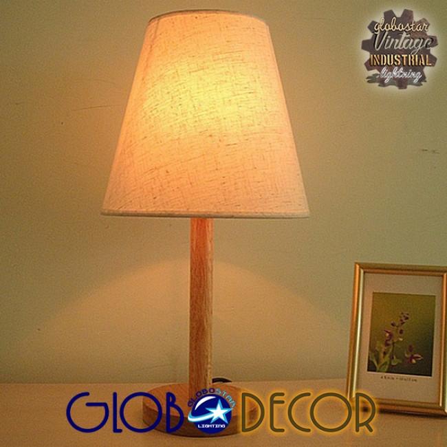 Μοντέρνο Επιτραπέζιο Φωτιστικό Πορτατίφ Μονόφωτο Ξύλινο με Λευκό Καπέλο Φ21 GloboStar NAPHIE 01208 - 6