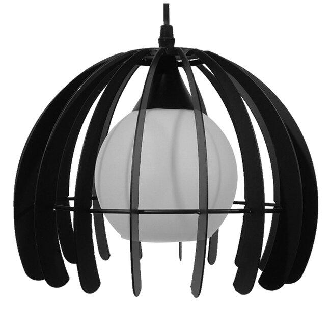 Μοντέρνο Κρεμαστό Φωτιστικό Οροφής Μονόφωτο Μαύρο Μεταλλικό Πλέγμα με Λευκό Γυαλί Φ26  INGLEY 01226 - 3