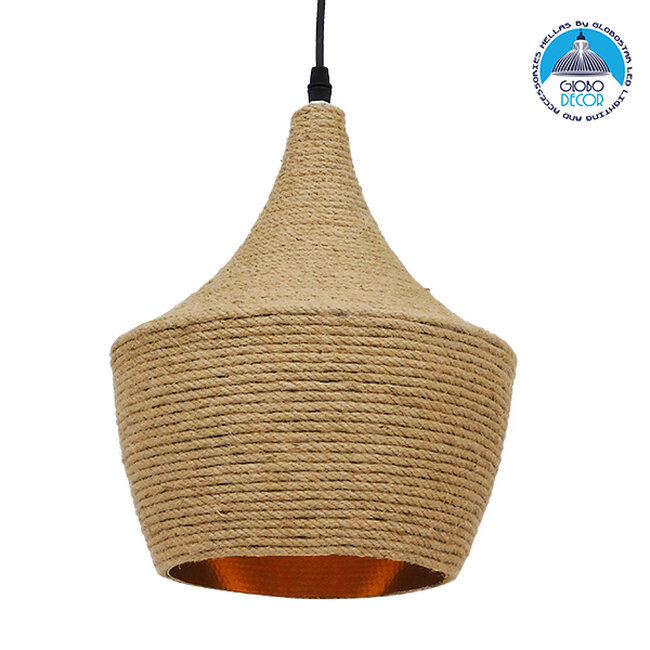 Vintage Κρεμαστό Φωτιστικό Οροφής Μονόφωτο με Μπεζ Σχοινί Καμπάνα  BEIJING Φ24 00916 - 1