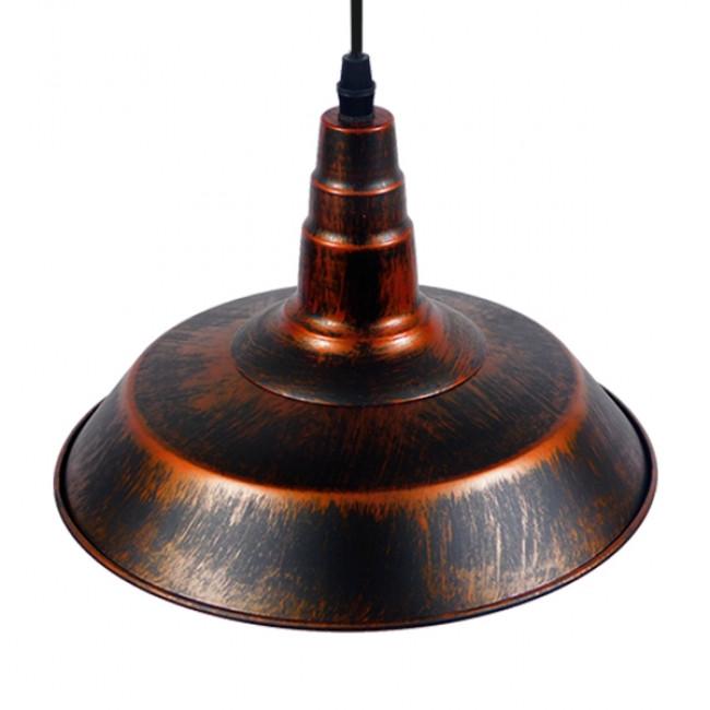 Vintage Industrial Κρεμαστό Φωτιστικό Οροφής Μονόφωτο Καφέ Σκουριά Μεταλλικό Καμπάνα Φ26  RAY IRON RUST 01047 - 4