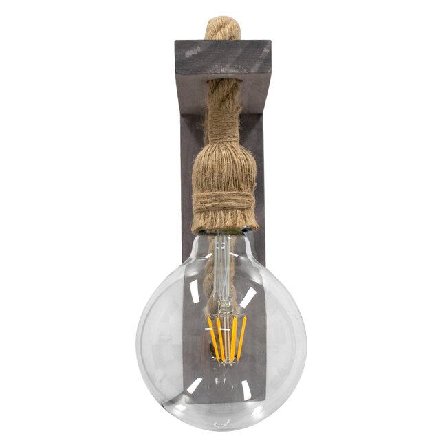 KENSI 00879 Vintage Φωτιστικό Τοίχου Απλίκα Μονόφωτο Γκρι Ξύλινο με Σχοινί Μ7 x Π20 x Υ30cm - 5