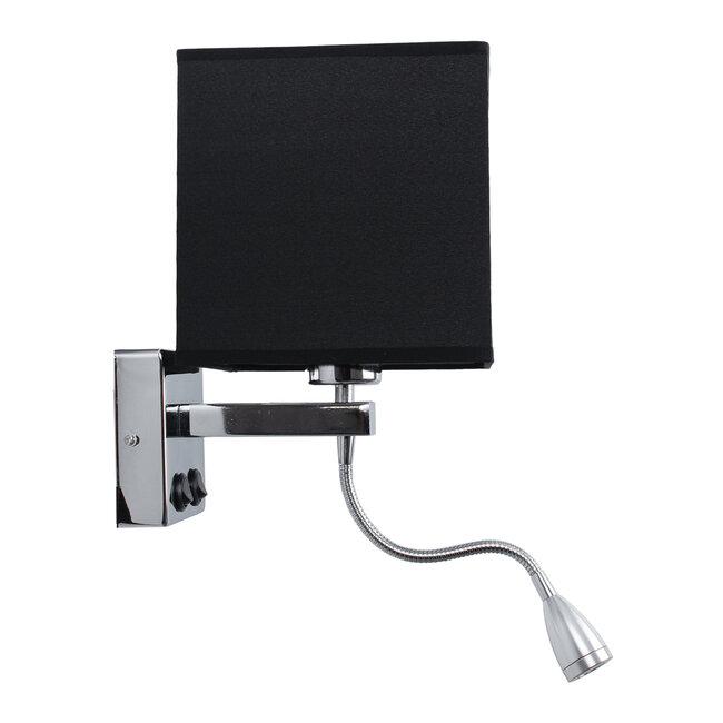 ELEGANT 01494 Μοντέρνο Φωτιστικό Τοίχου Απλίκα Δίφωτο Μεταλλικό με Μαύρο Ύφασμα και Βραχίονα με LED Μ17 x Π21 x Υ43cm - 4