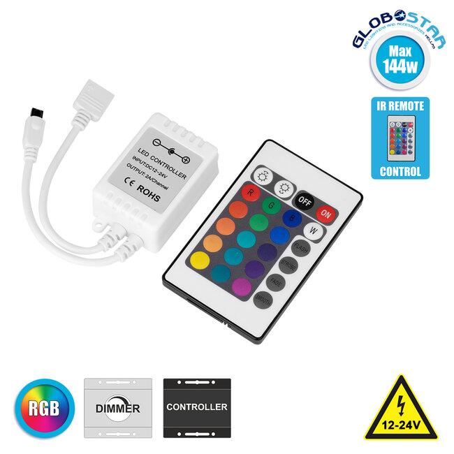 73403 Ασύρματος LED RGB Controller με Χειριστήριο IR DC 12-24V Max 144W