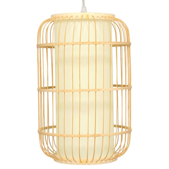 DE PARIS 00893 Vintage Κρεμαστό Φωτιστικό Οροφής Μονόφωτο Μπεζ Ξύλινο Bamboo Φ25 x Υ42cm - 4