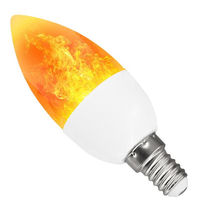 76074 Λάμπα E14 C37 Διακοσμητικό Κεράκι LED 5W 250lm 320° AC 85-265V με 2 Λειτουργίες Εφέ Φλόγας Θερμό Λευκό 1800K - 2