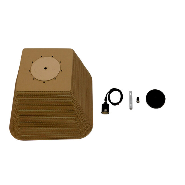 Vintage Κρεμαστό Φωτιστικό Οροφής Μονόφωτο 3D από Επεξεργασμένο Σκληρό Καφέ Χαρτόνι Καμπάνα Φ38  CORFU 01295 - 10