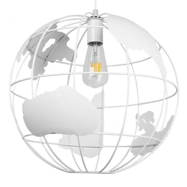 Vintage Industrial Κρεμαστό Φωτιστικό Οροφής Μονόφωτο Λευκό Μεταλλικό Πλέγμα Φ40 GloboStar EARTH WHITE 40CM 01664 - 3