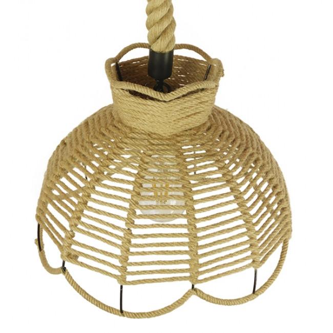 Vintage Κρεμαστό Φωτιστικό Οροφής Μονόφωτο Πλέγμα με Μπεζ Σχοινί Φ34 GloboStar VENIER 01610 - 5