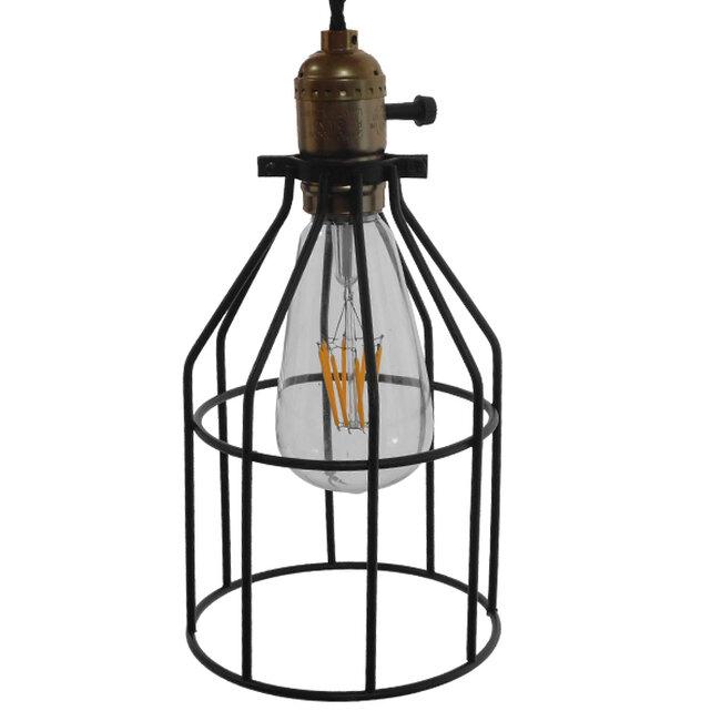 Vintage Industrial Κρεμαστό Φωτιστικό Οροφής Μονόφωτο Μαύρο Μεταλλικό Πλέγμα Φ14  GALOT 01179 - 5