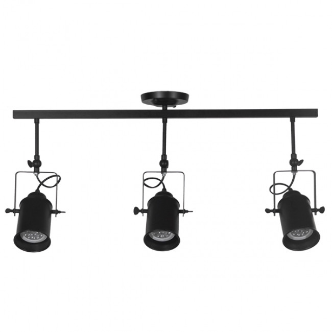 Vintage Φωτιστικό Οροφής Τρίφωτο Μαύρο Μεταλλικό Ράγα GloboStar HOLLYWOOD 01155 - 3